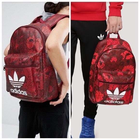 adidas Handbags - Adidas Originals Red Floral Backpack 5223ce7100a94